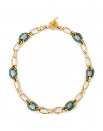 Collier Escale Green and Gold Resin Link Necklace