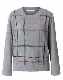 Grey, Camel and Charcoal Check Wool and Silk Sweater
