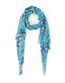 Aqua Blue Floral Printed Silk Cashmere Scarf