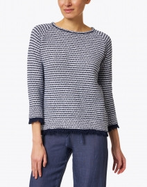 Kinross - Navy and White Cotton Fringe Sweater