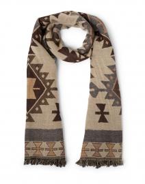 Lucilla Beige Western Desert Print Wool Fringed Scarf