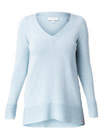 Pale Blue Cotton Rounded Hem Sweater