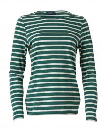 Minquidame Forest Green and Ecru Striped Cotton Top