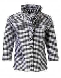 Celine Black and White Check Silk Shirt