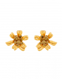 Gold Classic Crystal Flower Button Earrings