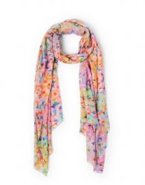 Multicolored French Garden Print Silk Cashmere Scarf