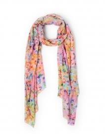 Multicolored French Garden Print Silk Cashmere Scarf