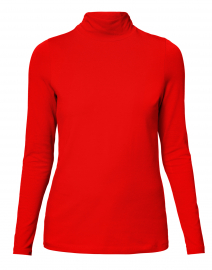 Red Cotton Ruched Mock Neck Top