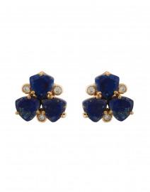 Blue Lapis Cluster Stone Clip On Earrings