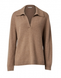 Chesnut Wool and Cashmere Polo Sweater