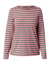 Minquidame Olive Green and Pink Striped Cotton Top