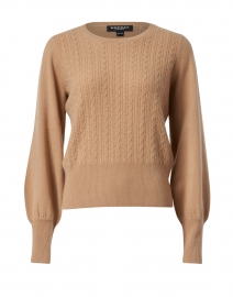 Camel Cable Knit Cashmere Sweater