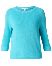 Breeze Blue Cotton Tab Sleeve Sweater