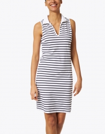 Saint James - Nimes White and Navy Jersey Polo Dress