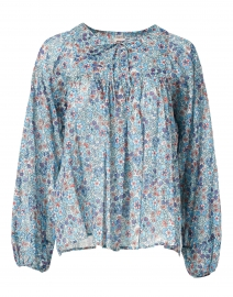 Flip Flop Blue Floral Print Cotton Voile Top