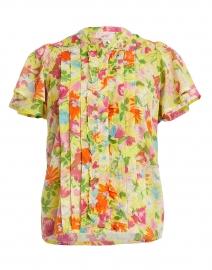Jennifer Yellow Fiesta Flower Printed Cotton Top