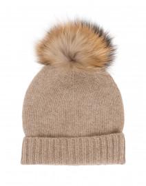 Taupe Fur Pom Pom Cashmere Hat