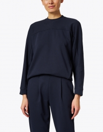 Max Mara Leisure - Frine Navy Plush Cotton Sweatshirt