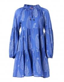French Blue Paisley Print Cotton Voile Dress