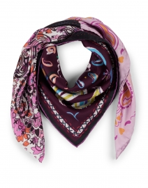 Pink and Purple Floral Remix Print Silk Twill Scarf