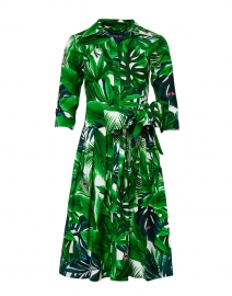 Samantha Sung - Audrey Green and White Palm Printed Stretch Cotton Dress