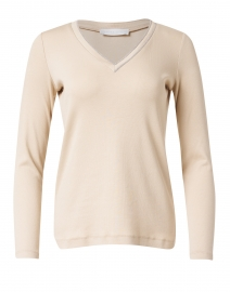 Beige Ribbed Jersey Top