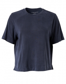 Navy Cupro Stretch Tee