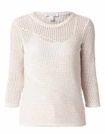 Beige Cotton Pointelle Sweater