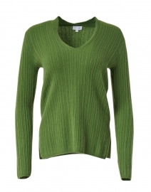 Basil Green Melange Ribbed Sweater