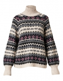 Beige, Pink and Grey Fair Isle Print Sweater