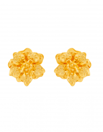 Satin Gold Magnolia Flower Clip On Earrings