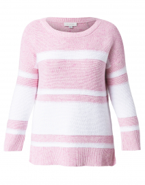 Pink and White Striped Cotton Sweater