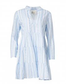 White and Blue Jacquard Stripe Cotton Dress