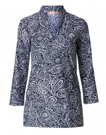 Chris Navy Paisley Nylon Top