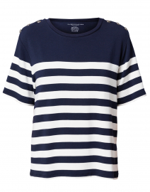 Navy and White Striped French Terry Top