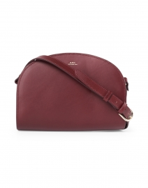 Wine Demi Lune Leather Crossbody Bag