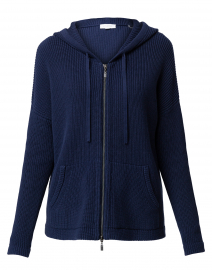 Navy Ribbed Cotton Zip Up Hoodie
