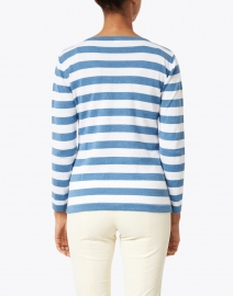 Blue - Ocean Blue and White Striped Pima Cotton Boatneck Sweater