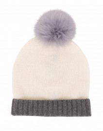 Ivory and Light Grey Fur Pom Pom Cashmere Hat