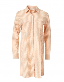 Coral Striped Seersucker Cotton Dress
