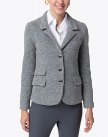 Amina Rubinacci - Dark Green and Grey Chevron Wool Cotton Jacket