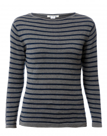 Grey and Navy Fine Stripe Cotton Sweater