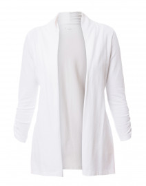 White Ruched Sleeve Cotton Cardigan
