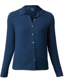 Midnight Blue Stretch Viscose Button Down Shirt