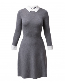 Grey Knit Dress with White Under Layer