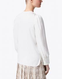 Kobi Halperin - Alessandra Ivory Stretch Silk Peasant Blouse