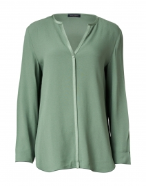 Green Satin Trimmed Blouse