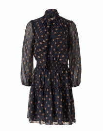 Dane Navy and Bronze Dot Print Sheer Dress
