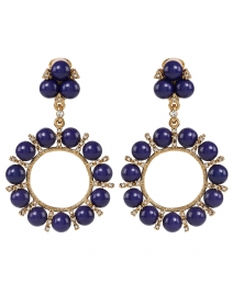 Lapis Balls and Rhinestone Antique Gold Drop Clip Earrings