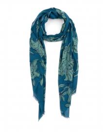 Teal Lily Printed Silk Wool Scarf